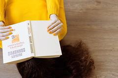 Reading 'Vanity fair' (curlsandsea) Tags: wood fall home girl yellow reading book sweater warm floor nails 365 vanityfair