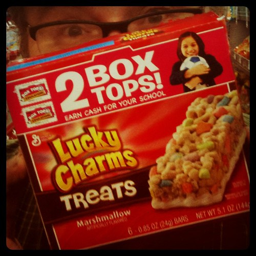 Lucky Charms Mashmallow Snack Bars! ( Disclaimer: Lucky Charms = My Favorite tasting Cereal)!  Could Breakfast cereal Possible be made LESS Nutritious that this?