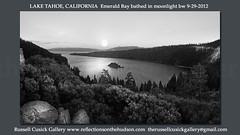 9-29-2012 lake tahoe emerald bay best  dusk full moon wide2 final cropped bw best watermark (rvc845) Tags: landscape tahoe laketahoe panoramic emeraldbay russellcusickgallery