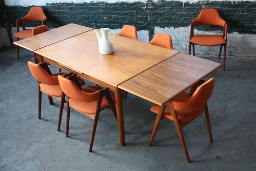 danish mid century modern teak retractable leaf dining table denmark 1960u0027s