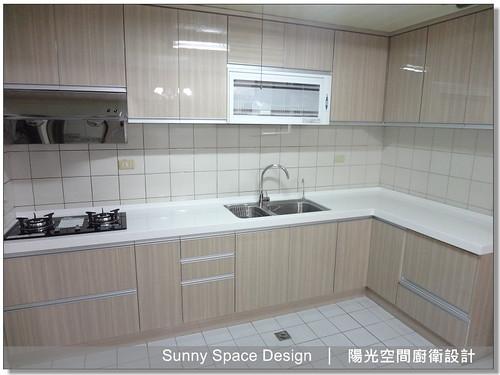 廚具大王林易延-作品編號174-基隆樂利三街李小姐L型木紋系廚具-陽光空間精品廚具