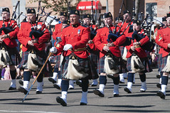 RCMP Bagpie Band (SaySandra) Tags: kdays edmonton downtown alberta festival parade 2016 rcmp bagpipe red band marching redserge