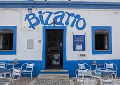 Bizarro Restaurant (Hans van der Boom) Tags: europe portugal algarve vacation holiday albufeira restaurant blue white bizarro text pt