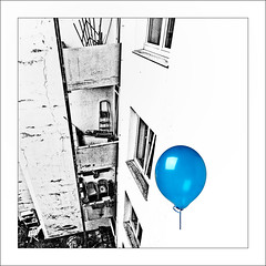blue balloon (j.p.yef) Tags: peterfey jpyef yef house balconies balloon windows urban germany kiel backyard theresa bw sw
