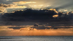 Sunray (opshorton) Tags: relaxing windturbines sky cloud sun tamronlens canoncamera canon7d seascape sea water sunset sunray