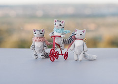 cats on bicycle (free_dragonfly) Tags: miniature toys animals cute cats gray tabby handmade polymer clay