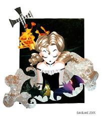 Gtica (Gothic girl) (elbuzonamarillo) Tags: nia gtica gothic girl cruz cross fuego fire agua water espuma foam murcilago bat oscuro dark oscuridad darkness