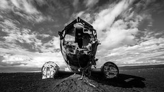 Sweetheart, I'll be late tonight (Louis Lefranc) Tags: fog douglas dc3 us navy crash plane iceland beach black white clouds samyang uga 14mm canon 6d army bw sky old contrast history rocks wreckage sand 169 format cinema