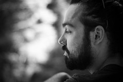 In his thoughts (Vincent Bertin) Tags: man portrait thought black white noir blanc people