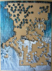Ghosts in the Moonlight - Snow Leopards (Larry Fanning) (Leonisha) Tags: puzzle jigsawpuzzle unfinished