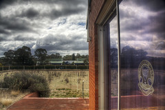 abandoned and overgrown (Daedalus-) Tags: hdr sky clouds dramatic reflection bowlinggreen abandoned bowlingclub canberra stormy glass brown weeds