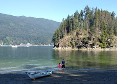 Paddling at Jug Island Beach (Ruth and Dave) Tags: jugisland beach belcarraregionalpark indianarm vancouver stony pebbles island trees forested inlet ocean sea water paddling father daughter dave catrin wading
