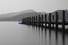 Blue boat (Nathan J Hammonds) Tags: jetty blue boat monochrome black white lake district water nikon d750 long exposure 10stop nd perspective smooth