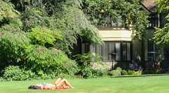 I'd cover my face too! -  mismatched outfit (D70) Tags: hart house restaurant deer lake burnaby bc canada bikini lawn grass heritage building skin woman