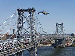 NYPD Flying (Joel Raskin) Tags: bridge suspensionbridge williamsburgbridge helicopter nypd eastriver river nyc manhattan cityscape city