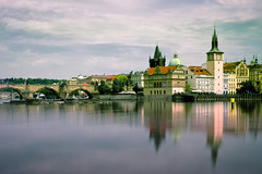 Prague Reflections (parkerbernd) Tags: prag karlsbrcke prague charles bridge vltava river moldau czech praha reflection nd filter long exposure lumix gx1 clouds sky vacation travel ceska tschechien church kirche altstadt picturesque old town city center midtown zentrum reflexion spiegelung fluss
