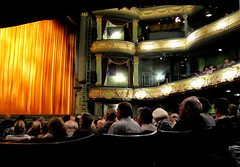Theatre Royal, Nottingham (Lady Wulfrun) Tags: lighting nottingham light people orange green play audience stage curtain grand shock ornate theatreroyal thriller theatreland finalcurtain stageplay