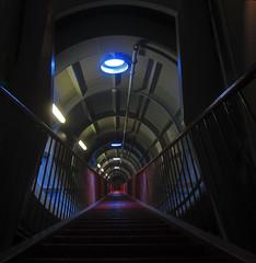 atomium (maximorgana) Tags: blue red brussels yellow stairs belgium steps tunnel lampara foco barandilla tuberia automium