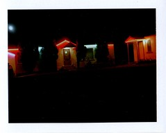 bryce canyon motel neon courtyard and full moon (EllenJo) Tags: west vintage polaroid utah ut motel roadtrip historic september southernutah americanwest 2012 89 chadsbirthday landcamera highway89 redcanyon panguitch instantfilm motorcourt fujifp100c panguitchutah ellenjo bornin1972 ellenjoroberts brycecanyonmotel september2012 rollfilmcameraconvertedtopackfilm convertedpathfinder historichighway89