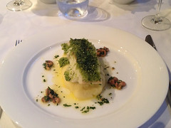 Icelandic cod with lemon & parsley crust, brown shrimp butter sauce (Bookatable) Tags: london restaurant 11 cadogangardens