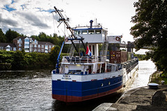 194_3836_12-09-12 (homewurks) Tags: bridge john manchester photography boat canal warrington rotterdam ship railway monica photograph locks mast lower masts lowered hopkins thelwall latchford johnhopkinsphotography homewurks
