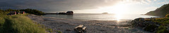 Bvr (afloden) Tags: sunset sea vacation panorama sun house sol beach water berg norway strand bench horizon h2o ferie hus vann senja solnedgang benk troms sj horisont