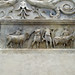 Ara Pacis, left wing, sacrificial altar with animals being led to sacrifice