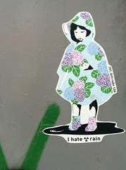 i hate rain (Susan Wai) Tags: street city travel flowers girl japan japanese tokyo stickerart antinuke rainmac ihaterain