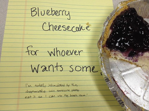 Blueberry Cheesecake for Whoever Wants Some. I'm totally intimidated by this cheesecake. Will someone please eat it so I can use the breakroom!