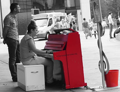Tickle the Ivories...Liverpool (Bev Goodwin) Tags: red england liverpool candid piano merseyside tickletheivories sonya37