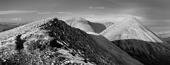 Glamaig and Beinn Dearg Mhor from Beinn Dearg Mheadhonach (stewyphoto) Tags: red blackandwhite panorama mountains skye isleofskye panoramic hills cuillins cuillin glamaig beinndeargmhor beinndeargmheadhonach