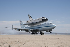 Endeavour Atop SCA Lands At Edwards (ED12-0316-05) (NASA HQ PHOTO) Tags: ca usa nasa edwards spaceshuttle flyover edwardsairforcebase jimross 747shuttlecarrieraircraftsca drydenflightresearchcenterendeavour