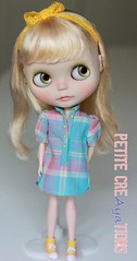 (Aya_27) Tags: pink blue yellow shirt marina check doll long colorfull sewing w mama clothes mywork blythe collar custom hybrid puffy byme checks sleeves dollie scalp rbl pupe vainilladolly shirtbyme mamascalp petitecreayations