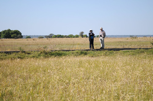 Researchers assess the Barotse Floodplain, Zambia. Photo by Georgina Smith, 2012.