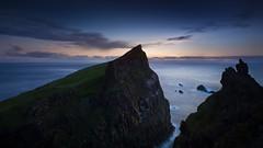 Mykineshlmur (Hans J. Hansen) Tags: longexposure sunset cliff night faroeislands mykines mykineshlmur pwpartlycloudy