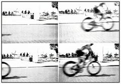 Mallorca/ rpido (kokorage) Tags: blackandwhite bw film beach bike bicycle analog 35mm lomo lomography bicicleta sw actionsampler mallorca fahrrad arenal balneario yabbadabbadoo elarenal lomographie actionsampling kokorage