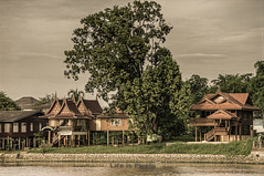 Traditional Thai Residence (HDR) (LifeisPixels - Thanks for 4 MILLION views!) Tags: wood houses brown house tree classic texture river painting paper lens landscape asian thailand wooden asia paint sony traditional thai southeast residence dt bleached texturing a55 ayudhya f3563 18250mm sal18250 lifepixels lifeispixels lifeispixelscom