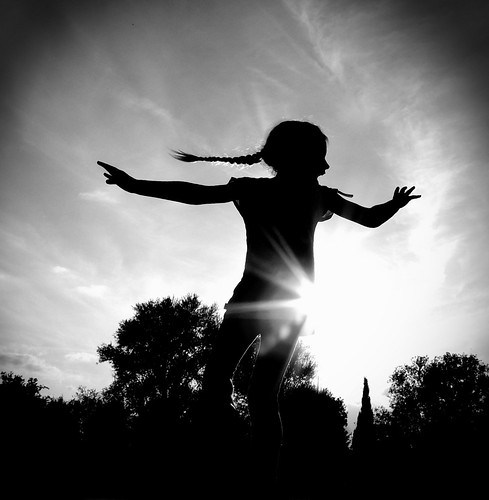 Project Flickr Week 39 - Silhouette {EXPLORED} (Charlottz - Away for a bit!) light sky girl silhouette outdoors nikon alone child dancing coolpix essex projectflickr p510