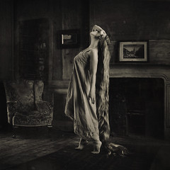 to fear escape (brookeshaden) Tags: wood blackandwhite selfportrait london sepia fairytale floors longhair oldhouse workshop mysterious rapunzel fineartphotography grimm darkfairytale