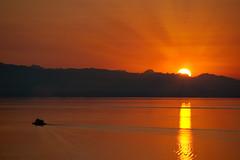 Ferry Light (Prestidigitizer) Tags: ocean sunset sea sky mountains reflection ferry sunrise golden ripples rays soe crepuscular powellriver pentaxk10d pentaxda50135mm mygearandme ringexcellence dblringexcellence