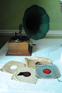 old-style record player and 45's