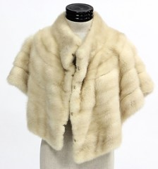1028. Cream Colored Mink Capelet, 1950s