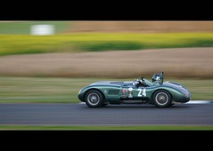C-Type at speed (Alex France photos) Tags: motion car race speed evening march wire memorial track driving action wheels helmet pipes racing jag trophy 24 pan jaguar friday panning circuit goodwood exhaust 2012 revival ctype worldcars