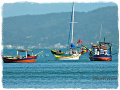 colorful  fishing boats (silwittmann) Tags: blue sea brazil sky mountains sc southamerica water brasil boats bay three mar colours barcos ngc transport pesca litoral itapema dockbay flickraward flickraward5 silwittmann rememberthatmomentlevel1 rememberthatmomentlevel2