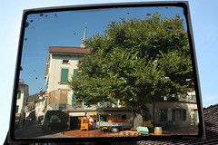 wine harvest scene (overthemoon) Tags: street reflection tree square mirror schweiz switzerland suisse barrel harvest unescoworldheritagesite vineyards boxes mirrorimage svizzera vignoble washing vaud lavaux romandie cageots