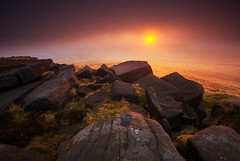 West Nab Sunrise Through Mist (andy_AHG) Tags: autumn rural sunrise outdoors rocks peakdistrict scenic moors westyorkshire pennines huddersfield britishcountryside northernengland landscapephotography beautifullandscapes westnab hillcloud melthammoor
