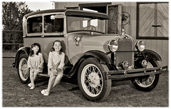 MegJennaAntiqueEdge (Lunchbox PhotoWorks) Tags: new bw mountain ford mexico model nikon conversion god spears antique rustic daughters albuquerque automotive crest company cedar abq motor d200 lunchbox nm 505 sandia 1929 575 photoworks a