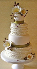 winter wedding cake (nice icing) Tags: christmas wedding green leaves rose cake ruffles gold berries cream sugar icing hellebore ribbon