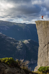 On the edge (Muppian) Tags: preikestolen pulpitrock norway norge sky clouds stone