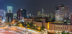 Just A Side Show (Tim van Zundert) Tags: hong kong kowloon tsim sha tsui china the masterpiece skyscraper buildings city skyline cityscape panorama road light trails lights night evening sky long exposure tower sony a7r voigtlander 21mm ultron hdr